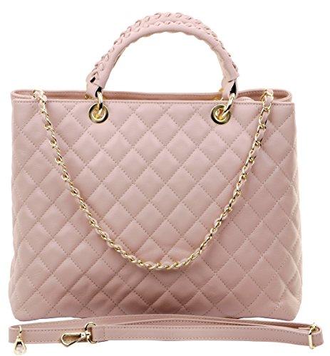 Primo Sacchi® italienisches Leder rosa Hand gemacht große Top behandelt gesteppte Schultertasche Handtasche, mit Metallkette und Leder hellgrau handgemachtes Armband (Gesteppte Armband)