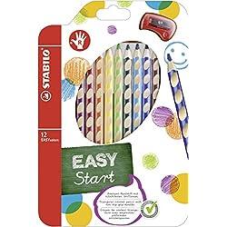 STABILO EASYcolors START - Lápiz de color ergonómico - Modelo para DIESTROS - Estuche con 12 colores y 1 sacapuntas