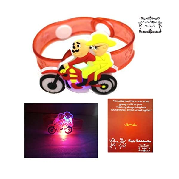 DECORATIVE BUCKETS Multicolour Silicone LED Rakhi for Brother with Card