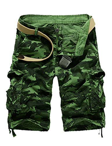 CUKKE Uomo Pantaloncini corti Bermuda Cargo short con tasconi laterali con cintura Verde