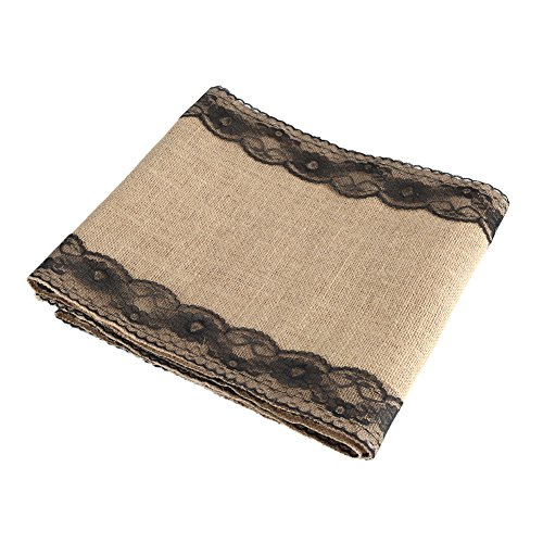 Fdit Sackleinen Lace Spitze Tischdecke Tischtuch Tafeldecke Tisch Decke Dekoration(Schwarz) (Spitzen-tischläufer Schwarz)