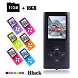 Crillutar 16 GB MP3-Musik-Player, tragbarer MP4-Player, mit Micro SD-Kartensteckplatz bis zu 64 GB, 1,8-Zoll-Farbbildschirm, unterstützendes Musik-Video, das Photo Viewer und E-Book –Schwarz
