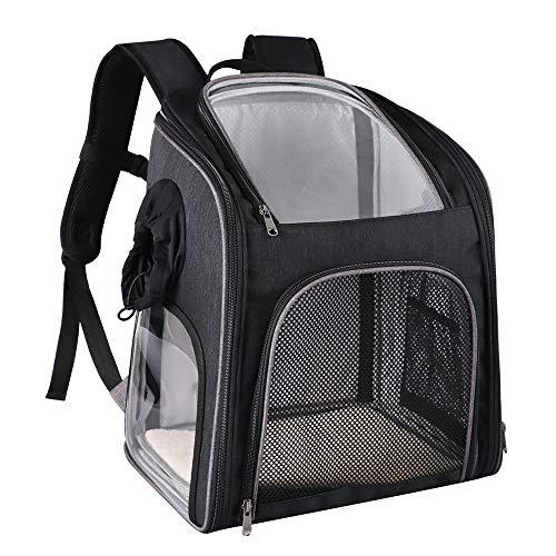 WLDOCA Haustier Rucksack Transparenter, sichtbarer PVC-Rucksack mit Fenster Wasserdichter und atmungsaktiver Hunderucksack für Reisen im Freien,Grau -