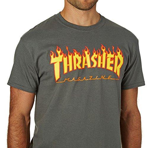 Thrasher T-Shirts Flame Logo T-Shirt. Charcoal