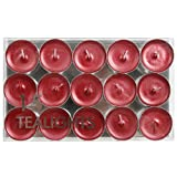 Village Candle 1 teiliges Premium-Teelichter, ohne Duft, 15 Stück, Metallic Rot