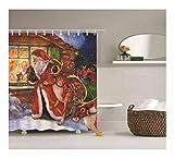 AnazoZ Duschvorhang Anti-Schimmel, Wasserdicht Badezimmer Vorhang Antibakteriell, Bad Vorhang für Dusche 3D Weihnachtsmann und Elch, 100% PEVA, inkl. 12 Duschvorhangringen 120 x 180 cm