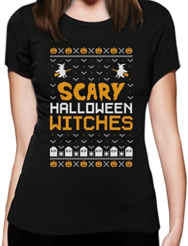 Scary Halloween Witches - Im Ugly X-Mas Style Frauen T-Shirt Small (Ideen Für Halloween Frauen Scary Kostüme)