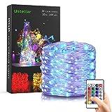 Ustellar RGB 10m 100 LED Lichterkette IP65 Wasserdicht Kupferdraht Fairy Light mit Fernbedienung, Batterienbetriebe Lichterketten (Batterie nicht enthält) 8 Helligkeit Niveau, 13 Farbe, 2 Farbewechsel Modi