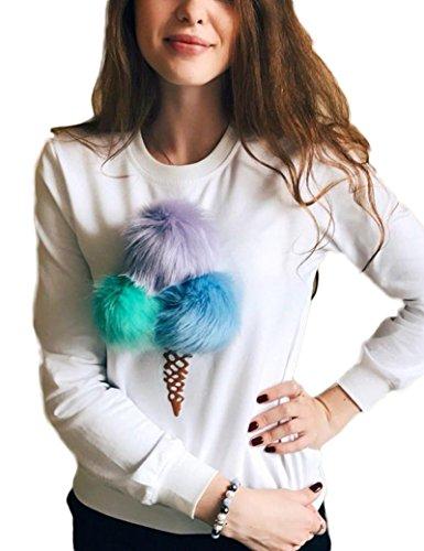 Boule de fourrure femmes Floral fashion-pulls white