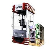 mikamax - Retro Popcorn Maschine - Deluxe - Cinema Popcorn Maker - Rot - 50 cm - Mit Rezept