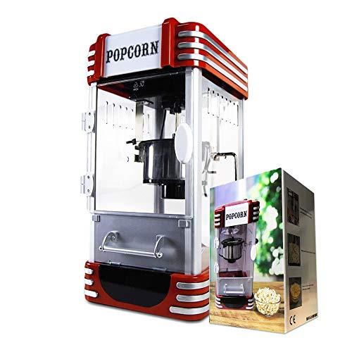 mikamax - Machine à pop-corn rétro - Deluxe - Machine à pop-corn cinéma - Rouge - 50 cm - Avec recette