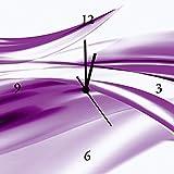 Artland Analoge Wand-Funk-oder Quarz-Uhr Digital-Druck Leinwand auf Holz-Rahmen gespannt mit Motiv 2jenn Schöne violette Welle - Abstrakt Abstrakte Motive Gegenstandslos Digitale Kunst Lila A5ZS