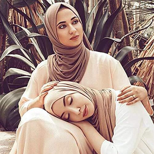 Frauen Schal islamischen Muslim Hijab Ausschnitt Plain Schals Kopftuch Schal Hidschab Viskose Halstuch Haartuch Hijab Baumwolltuch modern Tuch für Damen 100% Baumwolle 75cm*180cm - 2