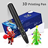 3D Pen,3D Printing Pen Kit Coming With 3D Pen+4 pack of PLA Filament+Stencil+Drawing Board+Shovel+2 Fingertip Protector+USB Cable+Adapter, Black Color