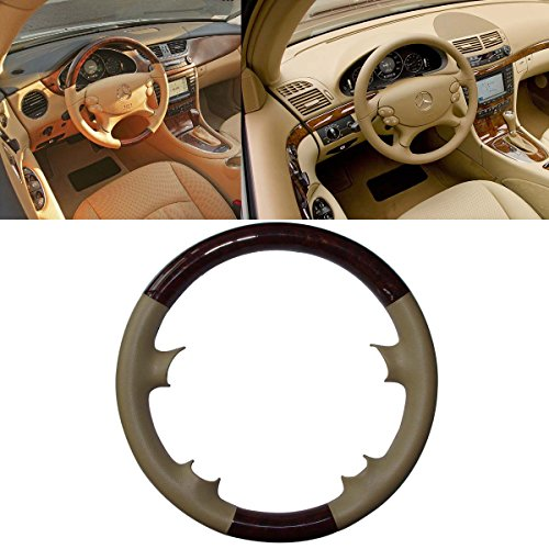 Preisvergleich Produktbild Tan Leder Holz Lenkradhülle für Mercedes Benz 2003–2009W209C209/A209CLK-CLK280CLK320CLK500clk5502002–2008R230SL SL350SL500SL600SL55AMG 2005–2010W219C219CLS350CLS500CLS5502006–2009W211E E200E280E320E350E500E550