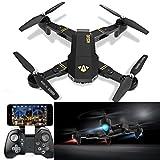 visuo xs809hw RC Quadcopter WiFi FPV Drone, Drohne Gyro 2.4G Höhe, Halt [RC Drohnen mit 2.0MP 720P HD Kamera], Selfie faltbar RC Quadcopter mit Höhe Halt [einfach zu fliegen für Anfänger], schwarz