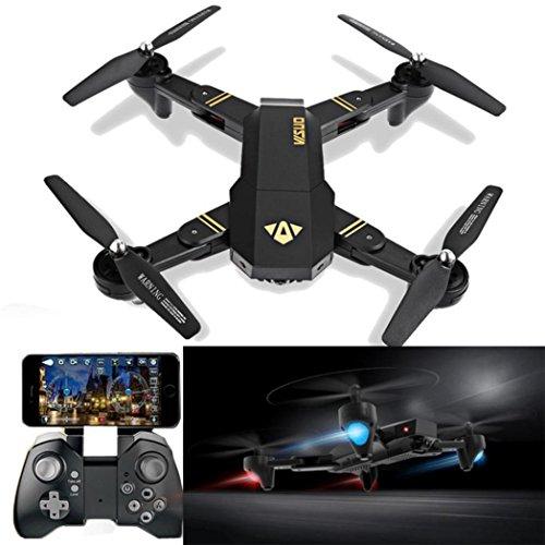 visuo xs809hw RC Quadcopter WiFi FPV Drone, Drohne Gyro 2.4G Höhe, Halt [RC Drohnen mit 2.0MP 720P HD Kamera], Selfie faltbar RC Quadcopter mit Höhe Halt [einfach zu fliegen für Anfänger], schwarz (Drohnen Mit Video-kamera Und Gps)