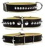 Elegantes Echt Leder Nieten Halsband soft für große Hunde silber beige dunkelbraun XL