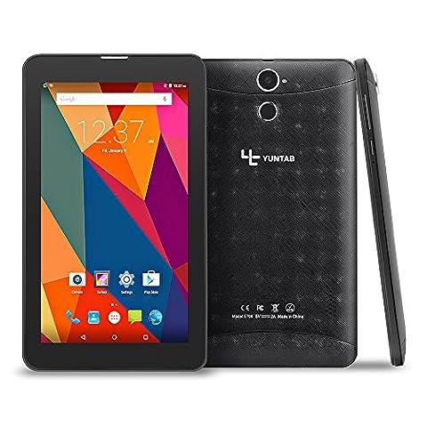 YUNTAB E706 7 Pouces 3G Tablet Téléphone 1G RAM 8G RAM 1024x600 IPS Écran Quad Core CPU GPS Android 5.1/6.0 2G/3G GSM WCDMA Phone PC WIFI Bluetooth 4.0-Noir