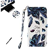 Tifightgo Flip Book Style Phone Case Peacock Feather Painted PU Wallet Leather Cover Silicone Shell Card Slots Bumper Case with Fold Stand Support Function for Samsung Galaxy J3 2017 J330