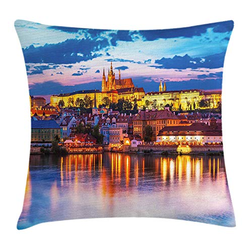 BUZRL Travel Decor Throw Pillow Cushion Cover, Evening in Prague Czech Republic St.Vitus Cathedral Historical Architecture, Decorative Square Accent Pillow Case, 18 X 18 inches, Multicolor