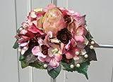 FRI-Collection Meisterfloristik Brautstrauß Biedermeier Seidenblumen Rosen Hochzeit mit zartrosa Rose und Hortensien