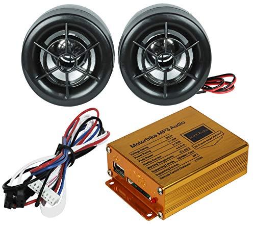 Electronicx Motorrad Mp3 Radio USB Anschluss Sd Adapter Buchse Alarmanlage 2 Lautsprecher Fernbedienung Wasserdicht