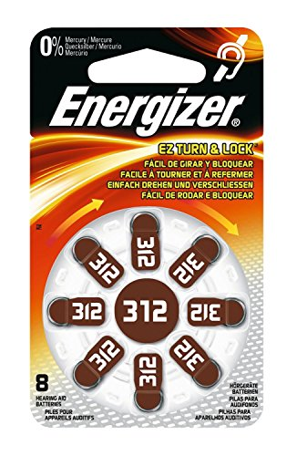 Energizer 12Stück je 8Batterien Hörgeräte Zink Air Turn & Lock N ° 312