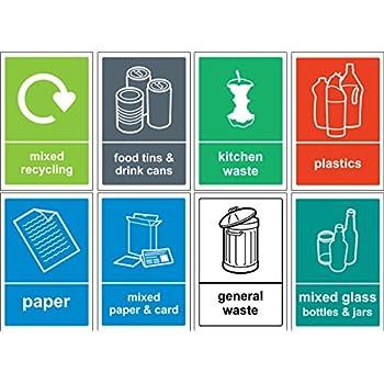 poubelle de recyclage sign autocollant lot autocollant en vinyle lot de 8 stickers 150 mm x. Black Bedroom Furniture Sets. Home Design Ideas