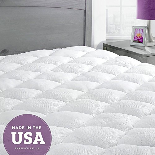 eLuxurySupply Mattress Topper King Bed - Bamboo Mattress Pad with Fitted Skirt - Extra Plush Cooling Topper - Made in the USA - King (UK): 150 x 200 cm
