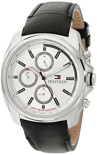 Tommy Hilfiger Homme 44mm Chronographe Noir Cuir Bracelet Date Montre 1791080