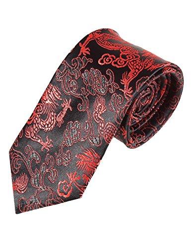 Lamore Corbata Estampada Hombre Negra y Roja de Dragón y Flor Fiesta Elegante