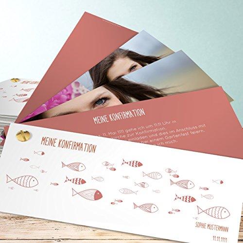 Konfirmationskarten selbst gestalten online, Ausschwärmen 200 Karten, Kartenfächer 210x80 inkl. weiße Umschläge, Rot