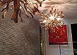 Möbel Bressmer Unikat Deckenlampe Wurzelholz Inferno XL Ø 100 cm | Hängelampe Kugel Holz rund rustikal | Lampe Handarbeit | | Eye-Catcher Wohnzimmer Büro