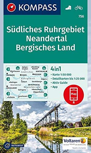 KOMPASS Wanderkarte Südliches Ruhrgebiet, Neandertal, Bergisches Land: 4in1 Wanderkarte 1:50000 mit Aktiv Guide und Detailkarten inklusive Karte zur ... 1:50 000 (KOMPASS-Wanderkarten, Band 756)