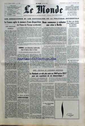 MONDE (LE) [No 7495] du 16/02/1969 - LES...