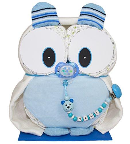 """Preisvergleich Produktbild Windeleule """"Mio"""" in Blau aus LILLYDOO Windeln - Schnullerkette auf Wunsch mit Namen"""
