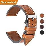 Fullmosa Ersatz Armbänder für Uhr in 6 Farben, Wax Series Echtes Leder Uhrenarmband 24mm/Watch Band für Damen&Herren,Hellbraun + Silber Schnalle