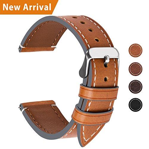 Fullmosa Ersatz Armbänder für Uhr in 6 Farben, Wax Series Echtes Leder Uhrenarmband/Wactch Armband/Replacement für 20mm,Hellbraun + Silber Schnalle