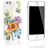 Tinxi Design Silikon Schutz Hülle für Apple iPhone 5S / 5 Schutzhülle Silicon Rück Schale Tasche Cover Case Etui gelbe Blume