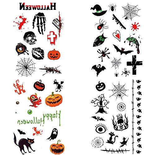 Jiyaru 4 Stück Halloween Temporäre Tattoos Horror Scary Tattoos Party (Halloween Websites Scary)
