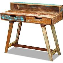 vidaxl u escritorio de madera reciclada rstico regenerado slido cuadro hecho a mano