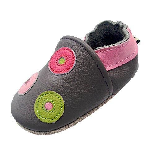 iEvolve Baby Mädchen Jungen Kreis Babyschuhe Baby Weiche Sohle Lederschuhe Baby Lauflernschuhe Krabbelschuhe(Grau Kreis,6-12 Monate)