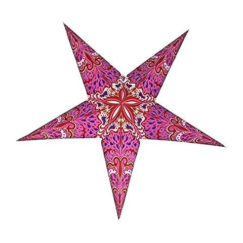 Fait à la main étoile de Noël Lanterne Abat-jour en coloré et motifs festifs–Rose, Rouge et Violet