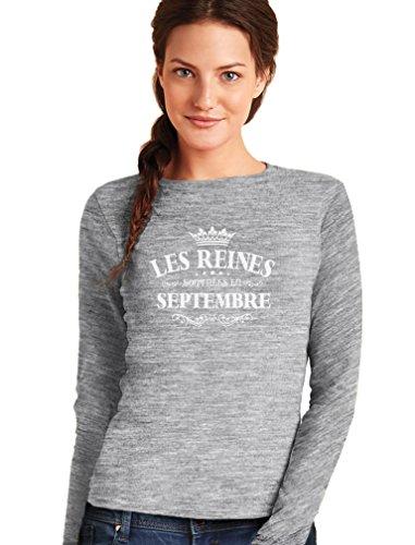 Green Turtle T-Shirts les Reines Sont Nées en Septembre T-Shirt Manches Longues Femme Gris Chiné