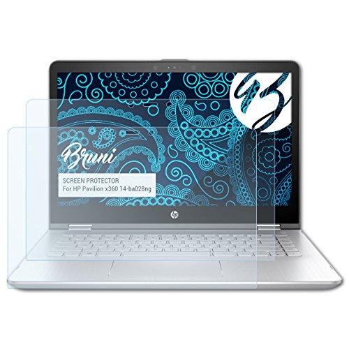 Bruni Schutzfolie kompatibel mit HP Pavilion x360 14-ba028ng Folie, glasklare Bildschirmschutzfolie (2X)