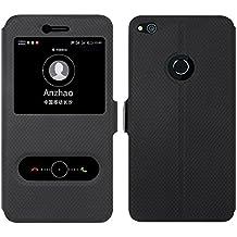 Huawei P8 Lite 2017 Funda , Anzhao Flip Cover [Cierre magnético] Caso Con Función de Soporte y Ventana [View Window] para Huawei P8 Lite 2017 (Negro)