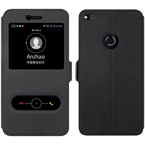 Huawei P8 Lite 2017 Custodia , Anzhao Flip Cover [Chiusura magnetica] Con Finestra [View Window] e Supporto per Huawei P8 Lite 2017 (Nero)
