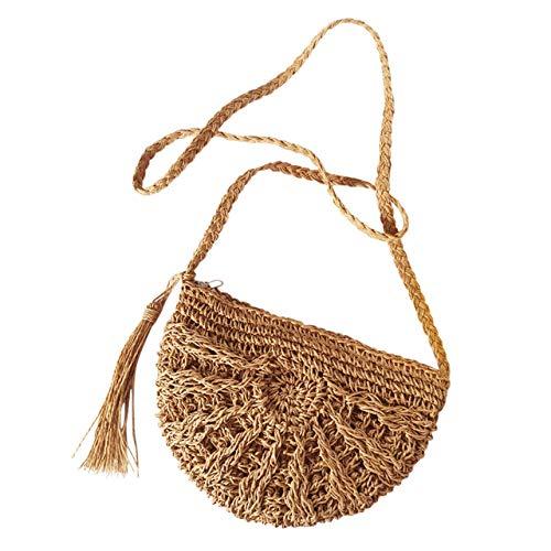 Bast-shopper (Faletony Sommer Stroh Strandtasche Umhängetasche Halbrund Hohl Strohtasche Crossbody Strand Tasche für Damen Mädchen Frau, Khaki/Weiß (Khaki))