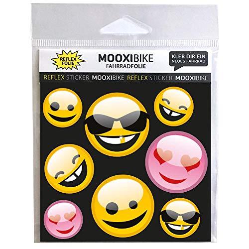 MOOXIBIKE Reflektierender Sticker Emoji Fahrradaufkleber zur Dekoration von Fahrrad, Helm, Scooter oder Roller und Erhöhung der Sichtbarkeit im Straßenverkehr